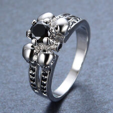 Skull Surround Black Sapphire Engagement Ring 10Kt White Gold Filled Womens/Mens