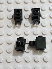 LEGO-X 4 black Bricks, Modified 1 x 1 with Clip Vertical