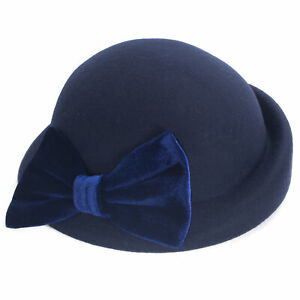 Womens Velvet Bow Vintage Style 100% Wool Felt Beret Derby Plain Hat T476