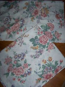 VINTAGE LADY PEPPERELL PINK PURPLE ROSE VIOLETS FLORAL (2) PILLOWCASES FULL FLAT