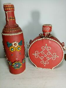 leather ethnic  decorated bottles