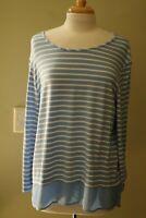 Chico's Zenergy T-Shirt Roll Tab L/S Striped Blue/White Sz 3 Ret $32