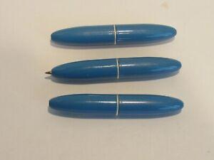 LOT OF 3 TERZETTI Bambino Mini Chubby Ballpoint Pen-Brass Metal Blue Body