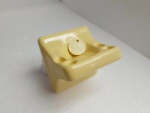 Saffron Yellow Ceramic Toothbrush Holder Tumbler Cup Tray Vintage Mid Century