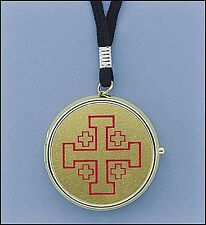 Brass Plated Pyx with Cord 7 Host Home Hospital Traveling Pyx NEW SKU CC203