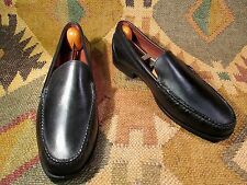 MENS POLO SPORT RL ALL LEATHER BLACK LOAFERS MOCASINS SIZE 5