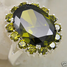 Oval Green Zircon 925 Sterling Silver Ring Womens Size  7
