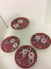 """Handpainted Rose Floral Set Of Four Plates 7 1/2"""""""