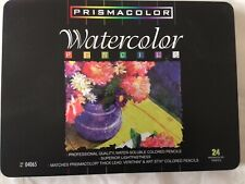 NEW 24 Prismacolor WATERCOLOR PENCILS OPENED NOT USED Wet or Dry  in Tin Box