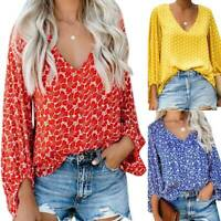 Womens Boho Long Lantern Sleeve Tunic Tops Casual Floral T Shirt Loose Blouse US