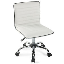 Modern Mid Back Armless Ribbed Office Chair Leather Task Desk (Black / White)
