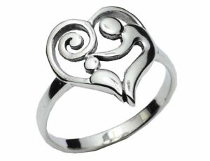 Bohemian Sterling Silver Mother & Child Heart Shaped Ring Anniversary Birth