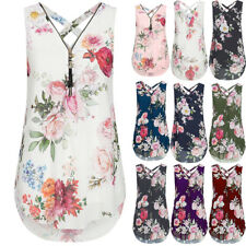 Womens Summer Floral Chiffon Casual Vest Sleeveless T Shirt Blouse Top UK 6-22