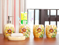5pcs Sunflower Bathroom Accessories Set Ceramic Soap Dish Dispenser Tumblers New