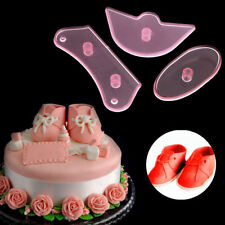 3Pcs Baby Shoes Birthday Cake Decorating Mold Cutter Fondant Sugarcraft Set Tool