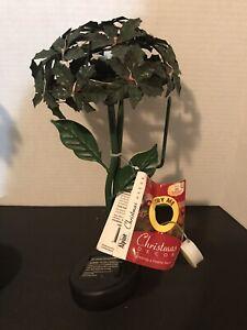 "Alpine Christmas Holly Solar Garden Stake 19"" Tall For Garden Or Arrangement"