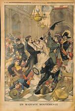 FIGHT FIGHTING WEDDING BAGARRE DANS UN MARIAGE A L'EGLISE A PARIS 1902