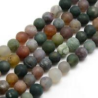 Natürliche Indische Achat Perlen 8mm Frosted Grün Rund Edelsteine G727