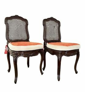 Pair of Napoleon III Caned Chairs With Cushions