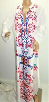 Women Plus Size 1x White Red Floral Print Abaya Kaftan Boho Gypsy Muumuu Dress