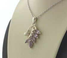 Sterling Silver 925 Clear and Semi-Precious Light Purple Amethyst Leaves Pendant
