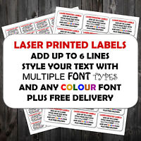 PERSONALISED STICKY RETURN ADDRESS LABELS MINI OR LARGE ADD TEXT COLOUR P&P