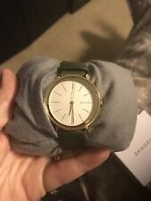 New Skagen SKW2491 Half Green Leather Thin Ladies Watch