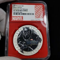 2018 Tuvalu Black Panther Colorized PR70 $1 Silver Proof, NGC Graded PF70