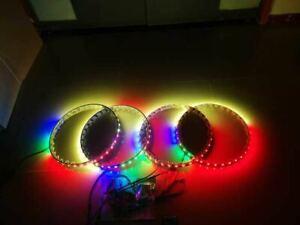 Set 4 LED Illuminated Aluminum Ring Rim Lights Colorshift Smart Phone Controlled