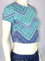 Spense Green Blue Stretch Top Shirt Blouse Womens Size PS Petite Small 4 6 NWT