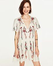 ZARA WHITE BEIGE FLORAL EMBROIDERED SHORT SLEEVE DRESS, SIZE S, BNWT, RP £59.99