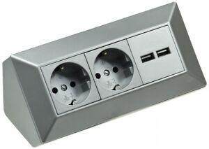 Aufbau Steckdosenleiste 3-fach m. USB Silber Küche Werkstatt Arbeitsplatten Ecke