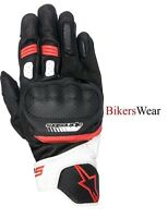 Alpinestars SP-5  SP5 White Red Short Leather Racing & Sport Motorcycle Gloves