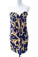 Women's Mini Dress Strapless Blue Yellow Party Festive Rubber Ducky Size Small S