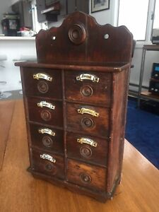 Antique Wooden Spice Cabinet W/ Porcelain Drawer Labels