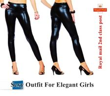 Wet Look Sexy Shiny Black Full Ankle Length Leggings All UK Sizes*WetLg