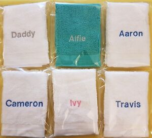 PERSONALISED NAME FACE FLANNEL, ANY NAME, ANY COLOUR