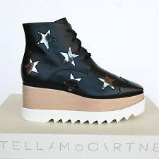 STELLA McCARTNEY $1140 wood platform wedge black Elyse Hackney star boots 41 NEW