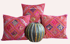 "SET OF 3 INDIAN HANDMADE ZARI WORK 16X16"" COTTON CUSHION COVER ETHNIC ART lpds"