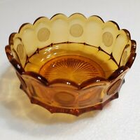 Vintage Amber Fostoria Glass 7.25 Inch Round Coin Dish Footed Bowl #179