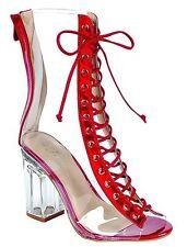Women's New Clear Peep Toe LaceUp Transparent Perspex Block Heel Booti Shoe 6-10