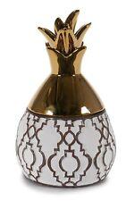 Or et Blanc Céramique Mat Ethnique Ananas Forme Boite Bijoux Rangement Cadeau