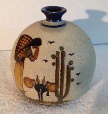 Art Pottery Weed Pot, Hand Painted Enamel Woman, Donkey, Desert & Butterflies