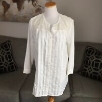 ORVIS womens large cream lace detail blouse shirt tunic top layering fall boho