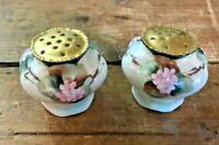 Victorian Porcelain Gold Iridescent Floral Salt & Pepper Shakers Pelton Signed