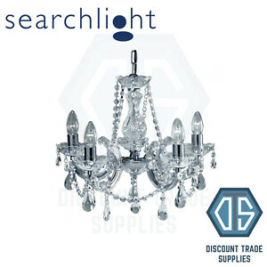 P399-5 SEARCHLIGHT MARIE THERESE CHROME 5 LIGHT CHANDELIERS (PACK OF 4)
