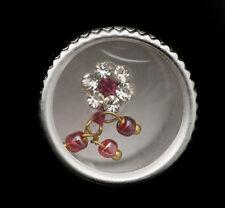 Bindi fleur rose fushia bijoux de peau front ht de gamme strass 13mm  ING E 2444