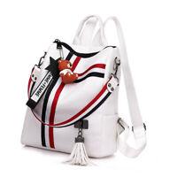 UK Women's Leather Backpack Anti-Theft Rucksack School Shoulder Bag Black/White