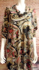 Kim & co paisley print long sleeve slouch neck black multi top 2x