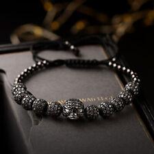 Luxury Black Brass Ball Zircon Skull Bracelets Adjustable Handmade Knot Bracelet